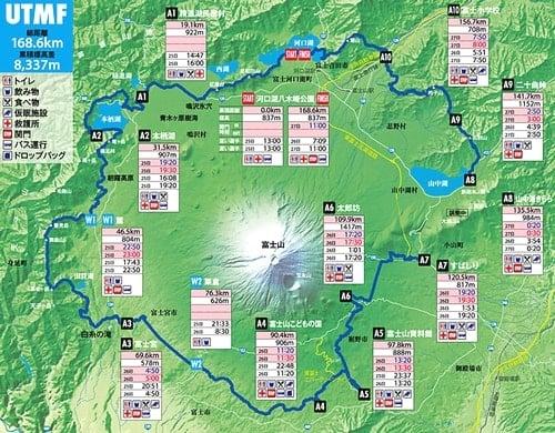 ウルトラトレイル・マウントフジ2015UTMFのコースマップ。