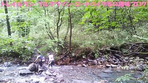 仙台泉ヶ岳トレイルランの川を渡るトレイルランナー達。