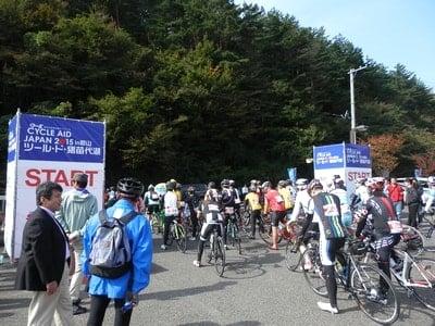 ツールド猪苗代湖90Kmコースに向けてロードバイクを輪行してスタート地点に到着。