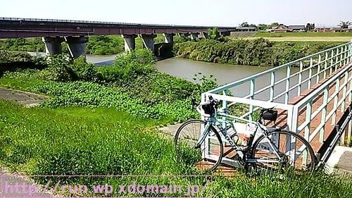 一級河川鳴瀬川と自転車