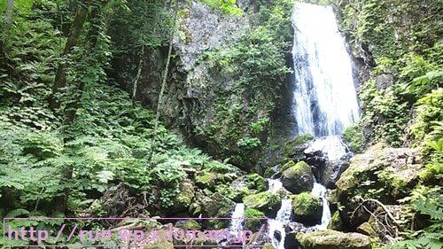 七時雨トレイルラン森林の中の不動の滝の流れる姿を撮影。