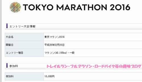東京マラソン2016に当選してクレジットカードで参加費を支払う画面。