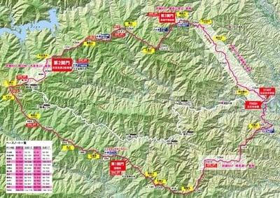 ハセツネカップ(日本山岳耐久レース)のコースマップ。