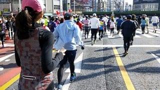東京マラソン2016都庁から日比谷公園・東京タワー付近を走る。