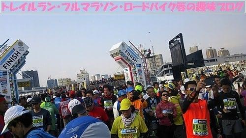 東京マラソン2016築地・台場ガンダム・有明テニスの森を走る。